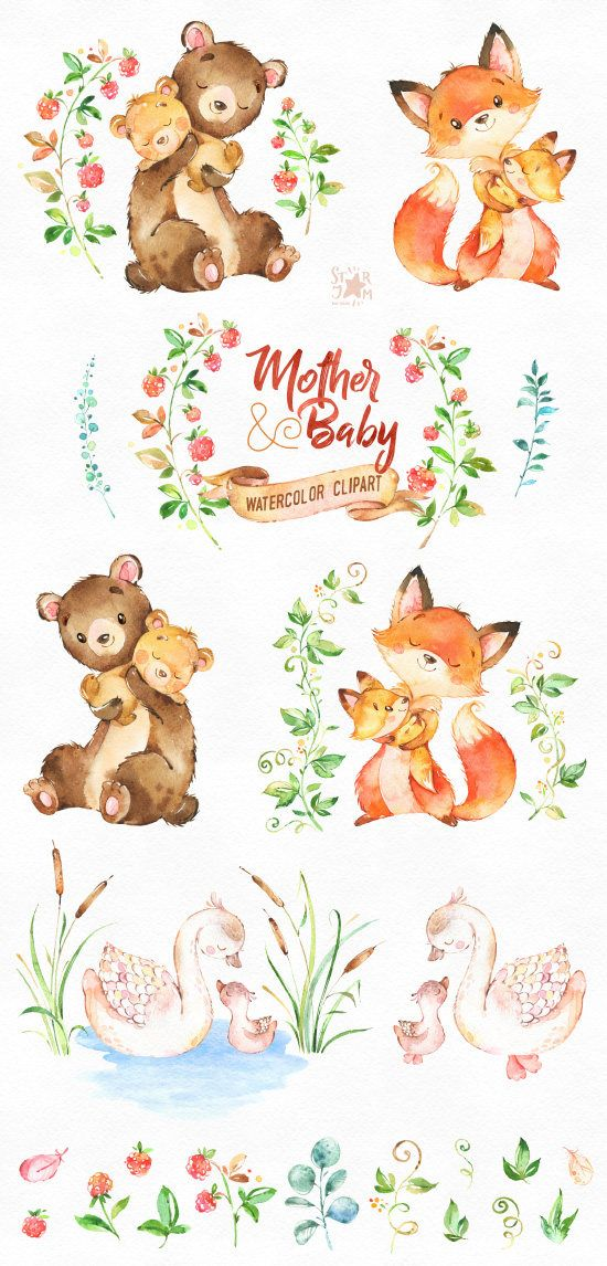 Mother & Baby. Watercolor animals clipart, fox, bear, swan, greeting, mothers day, invite, floral, wreath, diy, card, raspberry, babyshower – doodle AJ