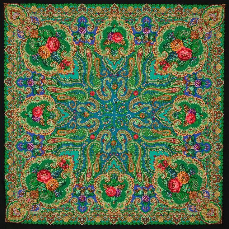 "Shawl of compacted woolen fabric with silk fringe ""Skazka"", 148*148 sm     Artist: Sukharevskaya Tatyana"