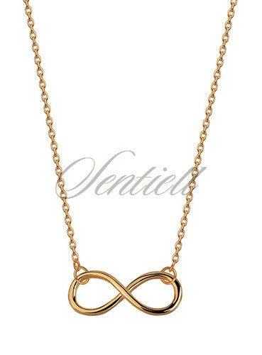 Srebrny naszyjnik pr.925 Infinity pozłacana - Żółte złoto