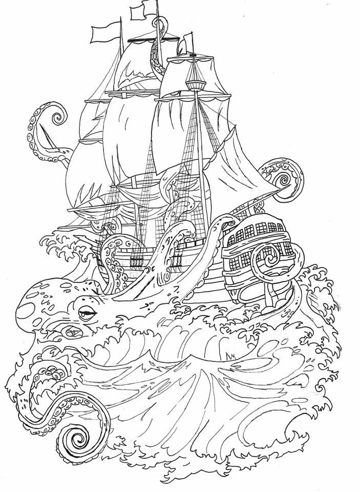 Squid Attacking Boat Coloring Page
