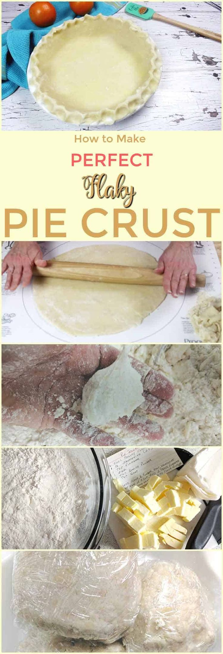 What is the secret to perfect flaky pie crust you ask? This recipe, video and step-by-step instructions will answer that question and also provide a free e-book How To Make Perfect Pie Crust. via @https://www.pinterest.com/Pieandpastrygal/