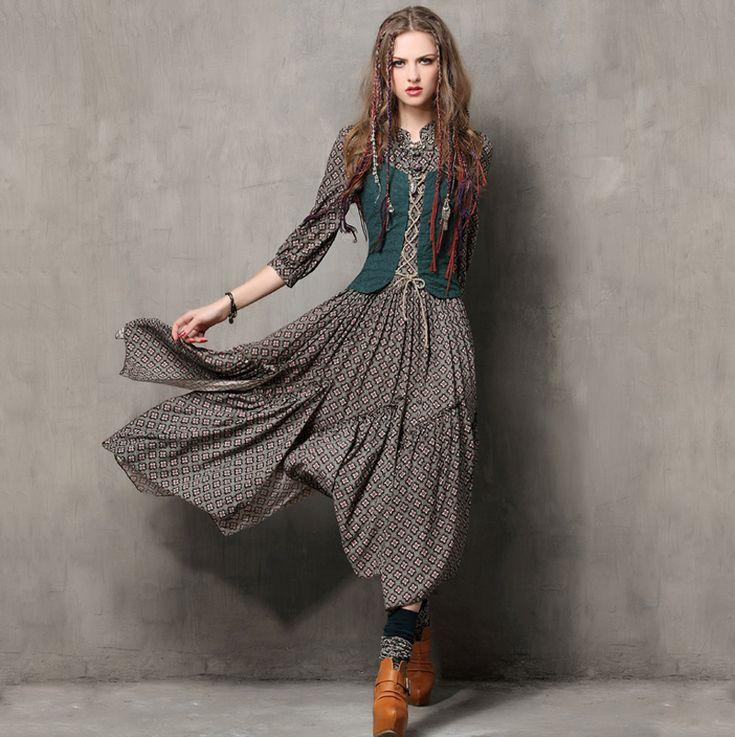 Cheap Mujeres del Estilo del verano Vestido 2016 Yuzi. ¿ Vintage Túnica Vestidos…