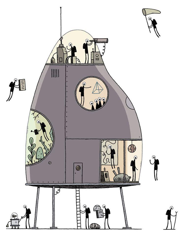 Tom Gauld Spacemen in a futuristic house.