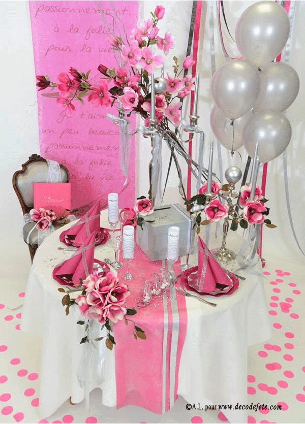 17 best images about mariage fushia on pinterest search for Deco table argent et blanc