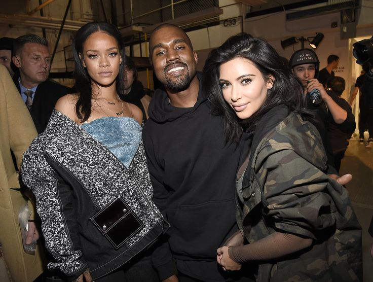 Rihanna and Kim Kardashian posed with Kanye West backstage at his Adidas fashion show.