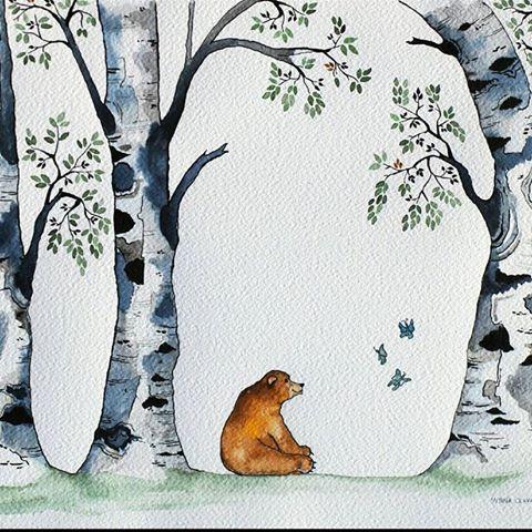 #bear #forest #butterflies #karhu #perhonen #artnaiffestiwal #kidsillustration #childrensillustration #childrenstories #naive #naiveart #tree #illustrator #illustration #watercolorpainting #watercolours #kidlitart