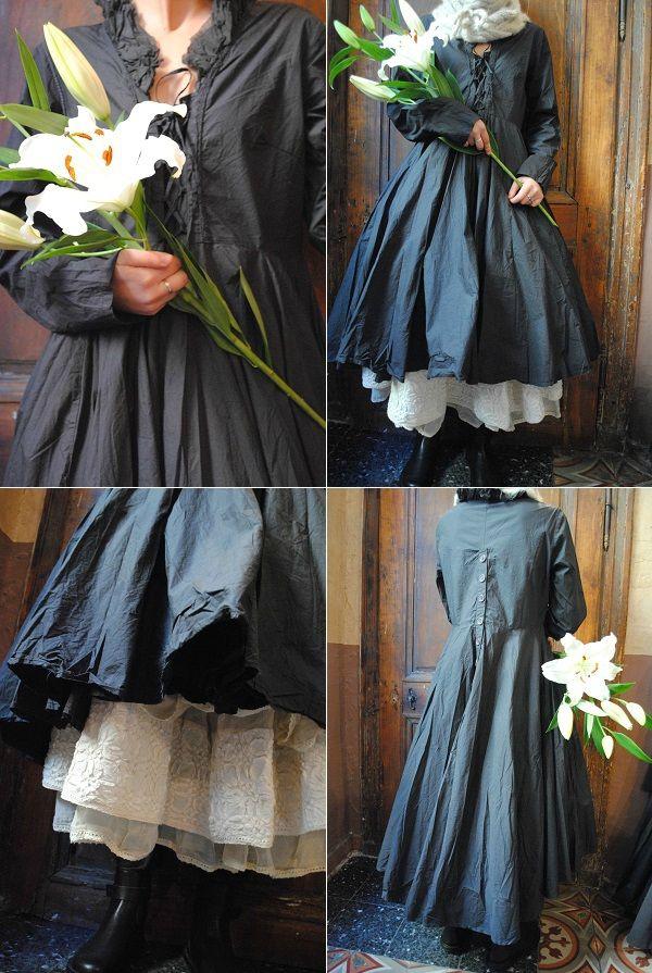 MLLE ARMELLE : Robe noire noire Ewa IWalla, jupon Les Ours bottines TRIPPEN. - Atelier des Ours.