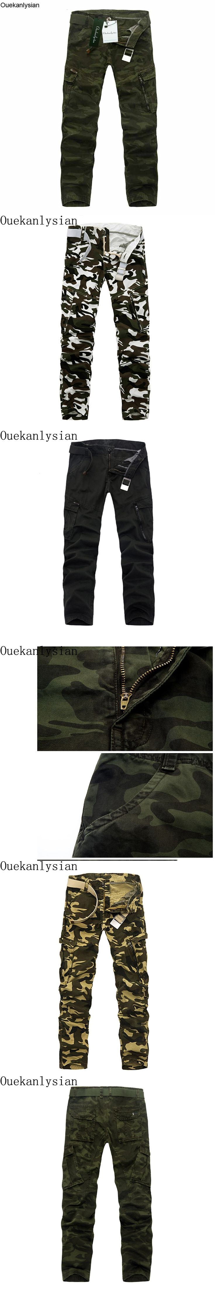 Ouekanlysian Multi Pocket Military Pants For Men Camouflage Army Camo Pants Casual Loose Baggy Camo Cargo Pants Combat Trousers