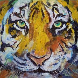 "Epic Art LLC - Tiger Psy Trance By Michael Creese 18""X23"" Gallery Wrapped Canvas - Michael Creese paints in the oil impasto style, a technique used in art where paint is laid thickly on canvas, leaving visible brush (or palette knife) strokes. When dried, impasto provides a great deal of texture to finished paintings."