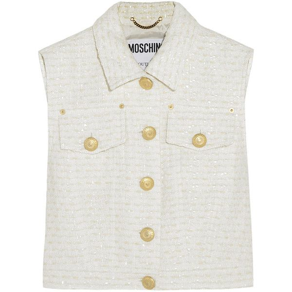 Moschino Cropped bouclé-tweed vest (14 …