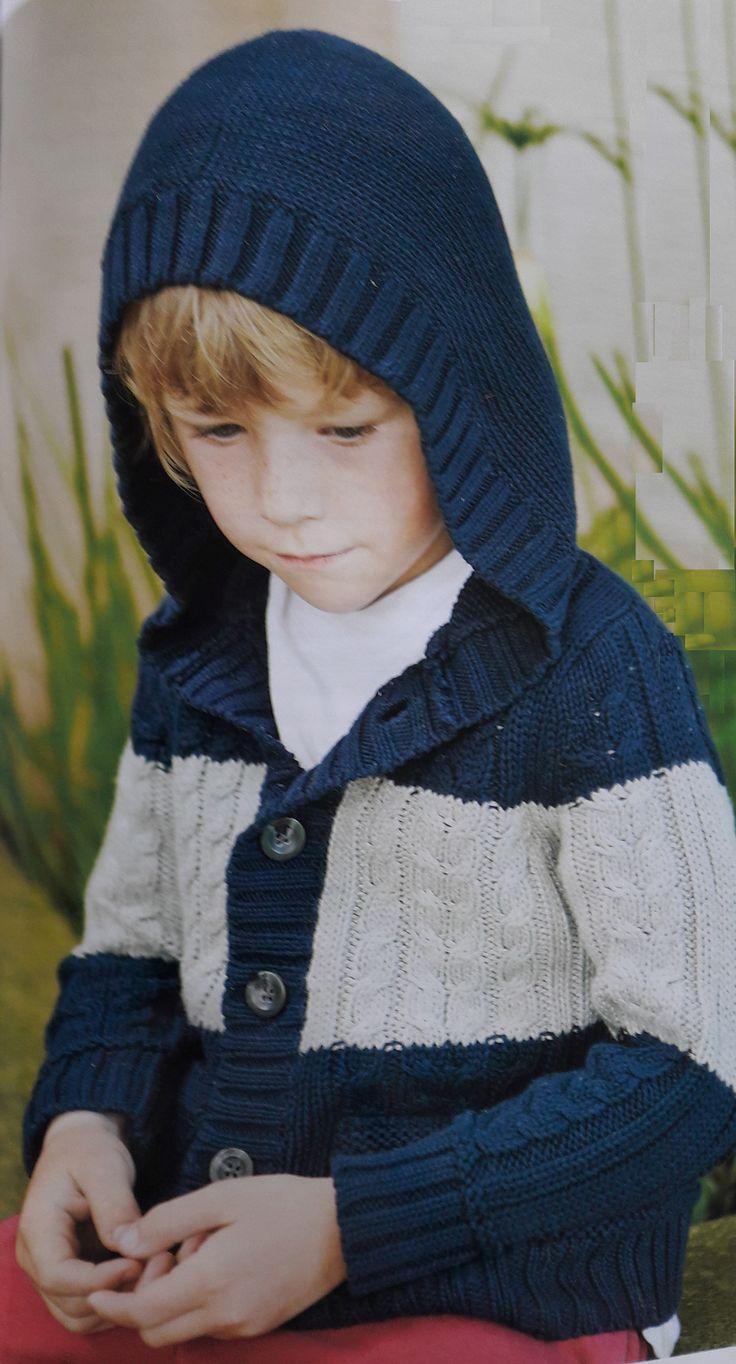 Saco con capucha tejido a dos aguas