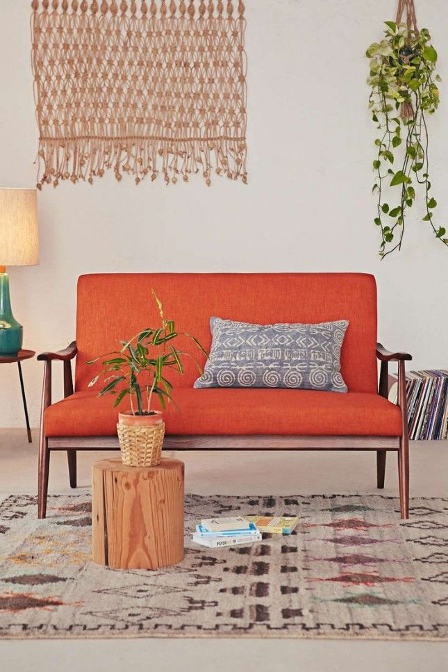 This couch is the perfect mix of mid-century and colorful modern.