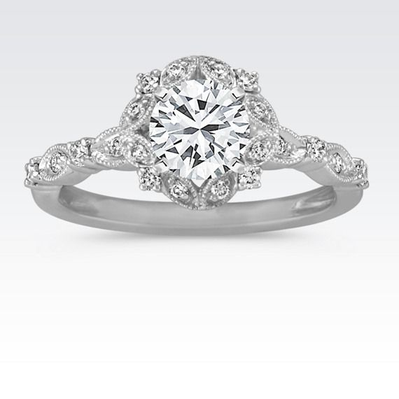 Round Halo Vintage Diamond Engagement Ring with Brilliant Round Diamond (Shane Co) LOVE LOVE LOVE THIS RING! What she wants is what she gets....