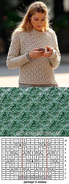 узор 476 ажурные треугольники | каталог вязаных спицами узоров