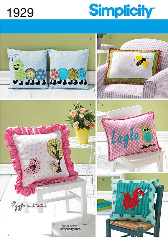 Kids throw pillows: bee caterpillar dragon owl or bird. Simplicity