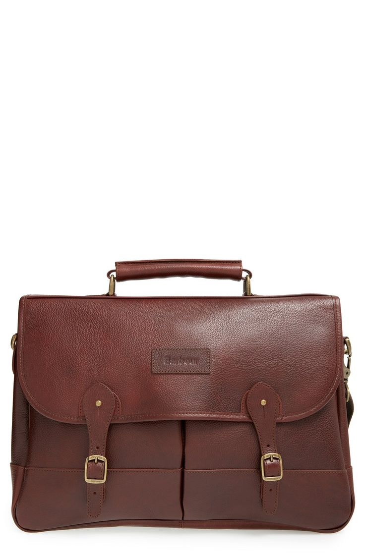 Leather Briefcase in Dark Brown by Barbour