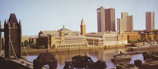 John Simpson and Partners's neo-Venetian plans for the second phase of the redevelopment of  London Bridge City in 1989