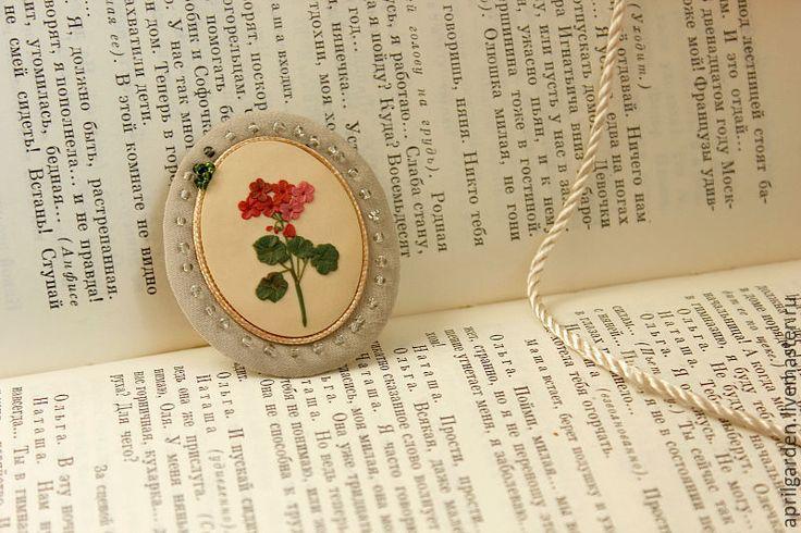 Купить Красная герань - ручное украшение, оригинальное украшение, цветы, ботанический, иллюстрация, изысканный, винтажный