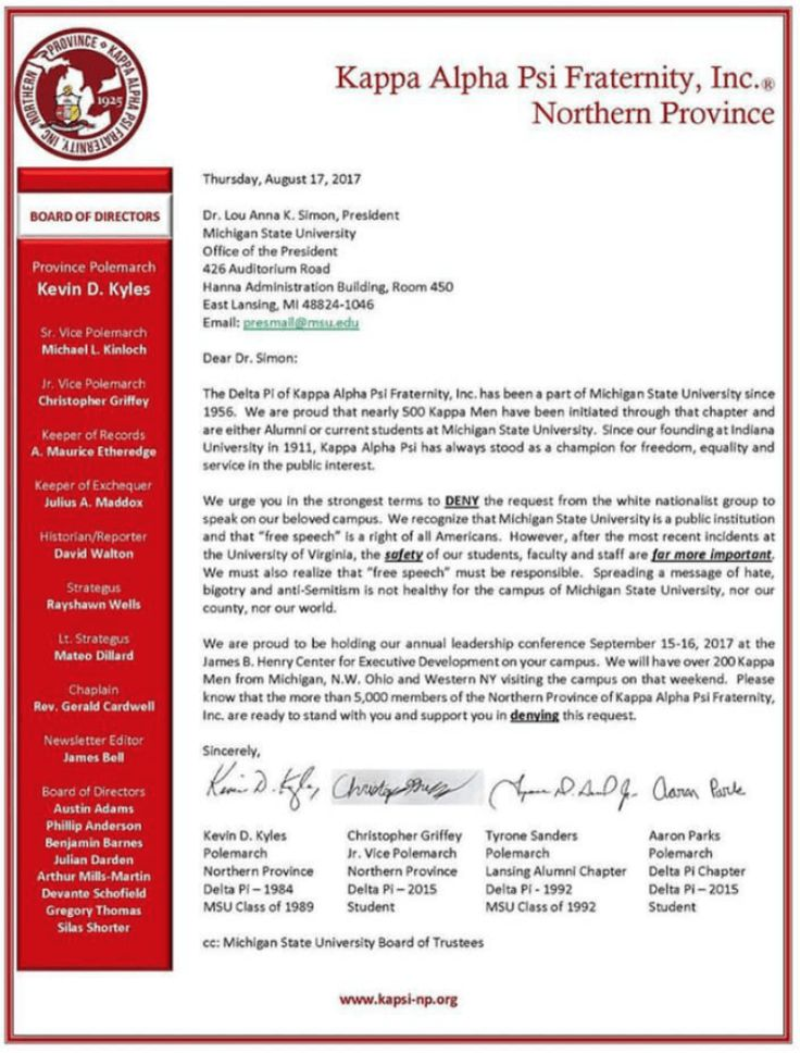 Black #Cosmopolitan NAACP Requests Meeting With NFL Commissioner About Kaepernick   #Education, #KappaAlphaPsi, #NationalPanHellenicCouncil, #NorthAmericanInterfraternityConference, #Structure         A SPLC listed white nationalist group by the name of The National Policy Institute requested to reserve space for a speaker at Michigan State University and the brothers of Kappa Alpha Psi were not having it. On Wednesday, Michigan State University President Lou Anna K. Sim
