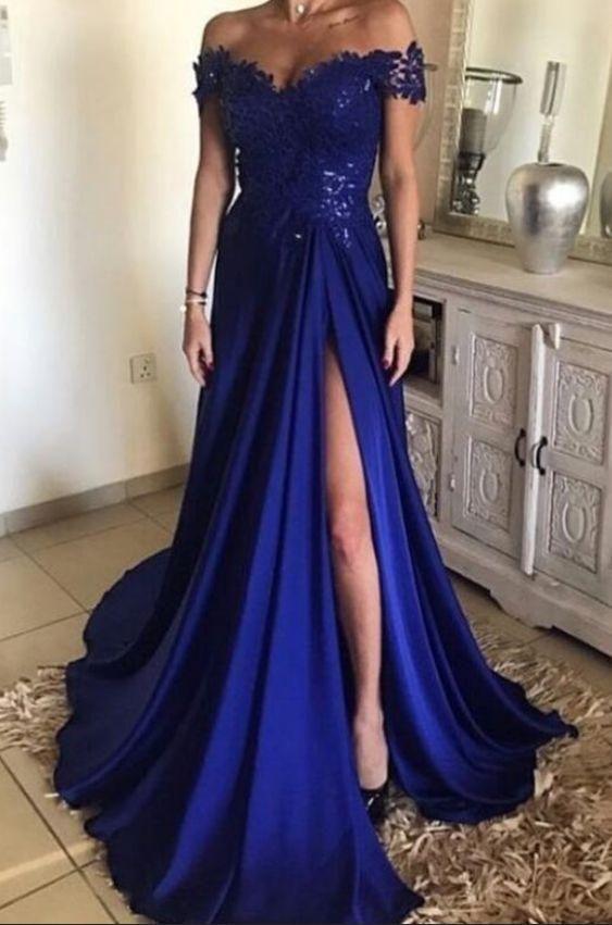af06d969f38 Off the Shoulder A-line Appliqued Long Prom Dress Semi Formal Dresses  Wedding Party Dress LP114