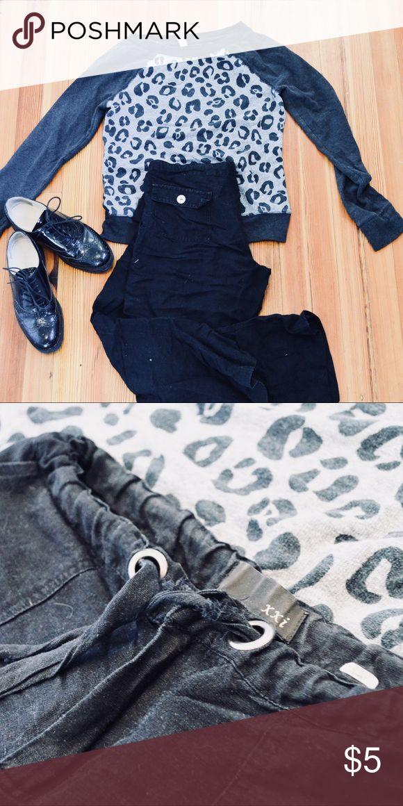 Black Linen pants Black linen type fabric pants draw string Pants Capris