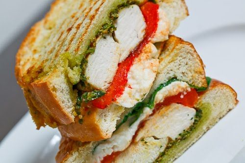 Chicken and Roasted Red Pepper Panini with Cilantro Pesto and Feta ...