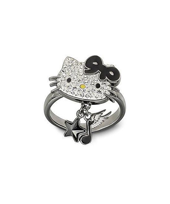 Silver & Black Hello Kitty Rock 52 Ring