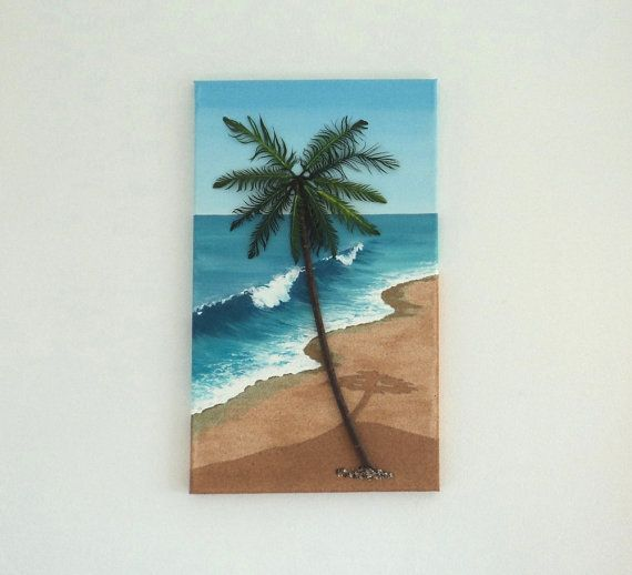 Acrylic Painting, Beach Artwork with Sand, Wood & Feathers, Palm Tree on Beach on Sand, 3D Art Collage, Home Decor, Wall Decor, Home Decor #ArtworkwithSeashells #mosaiccollage #seashellmosaic #homedecor #walldecor #3D
