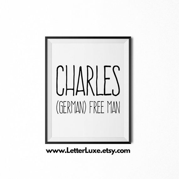 Charles Printable Kids Gift  Name Meaning by LetterLuxePrintables