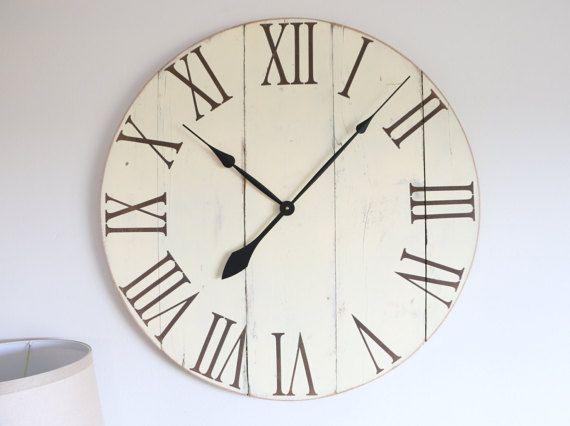 Large cream white wall clock. Wall clock vintage. Wall clock. Large wall clock. Rustic wall clock. Shabby chic wall clock. Wood clock.