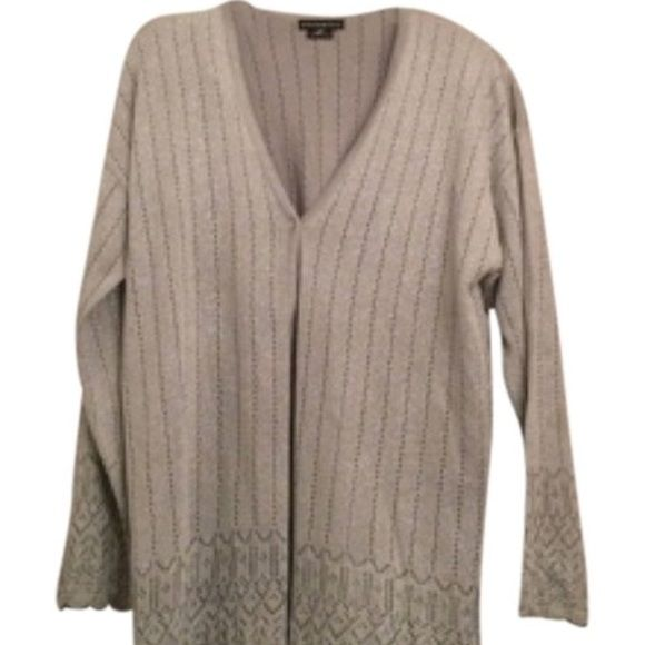 Theo Miles Silver Cardigan Perfect for the holiday season. Metallic Silver cardigan. Theo Miles Jackets & Coats