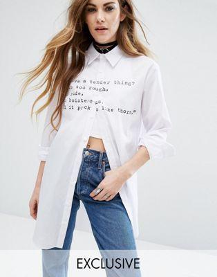 Рубашка с длинными рукавами и надписью Reclaimed Vintage X Romeo And Juliet