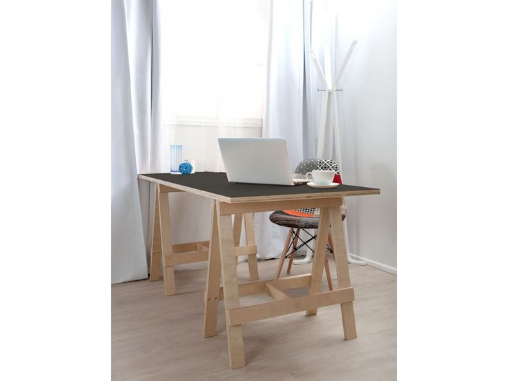 Trestle Desk - Black Laminate Top - CLEARANCE
