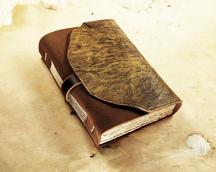 Vintage Book Cover Notebooks : Leather journal brown notebook with vintage old style