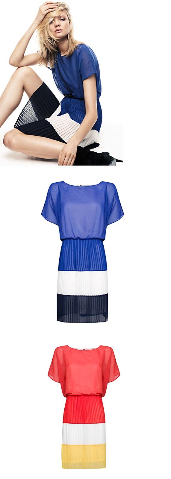 MANGO Pleated color block dress