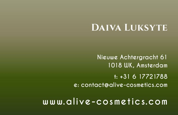 Business card for A-live Cosmetics (Back)