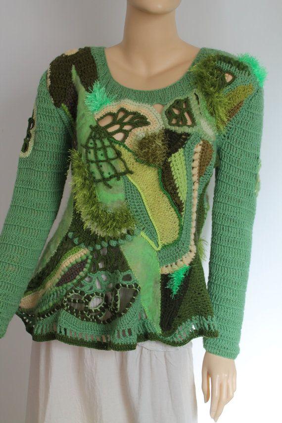 """Gehäkelte Pullover einzigartige Boho-Chic Fairy """"Zigeuner"""" Pixie Freeform häkeln Nuno Gefilzter Pullover Tunika Top, lange Ärmel - Wearable Art - Größe L - XL"""