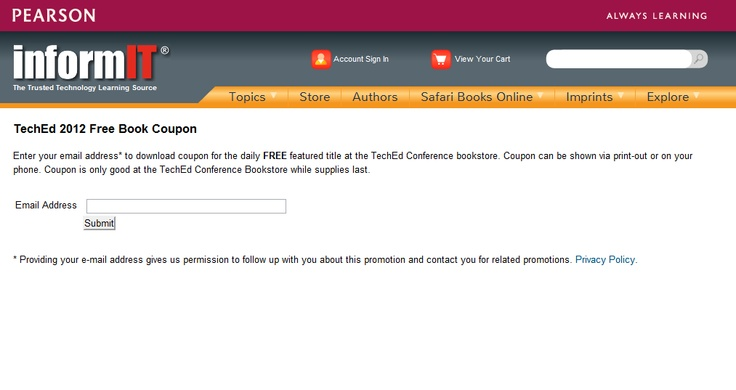 Register for free books at TechEd 2012: Free Books