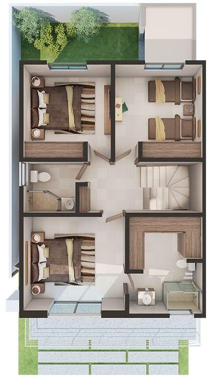 Casa chida planos y dise o de casas y depa en 2019 for Planos de casas pequenas de una planta