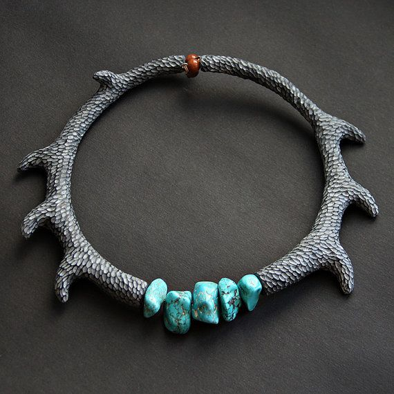Grey Necklace   Turquoise Necklace  Carving Jewelry  от tanyayesli