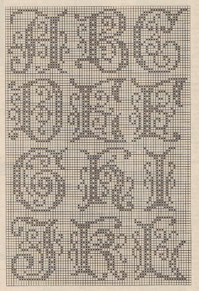 Full Filet Crochet alphabet here: http://momsloveofcrochet.com/FiletAlphabet.html   #cross_stitch