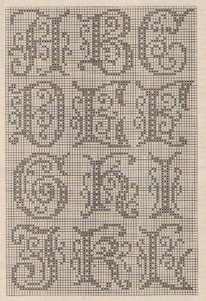 Full Filet Crochet alphabet here: http://momsloveofcrochet.com/FiletAlphabet.html   #cross_stitch