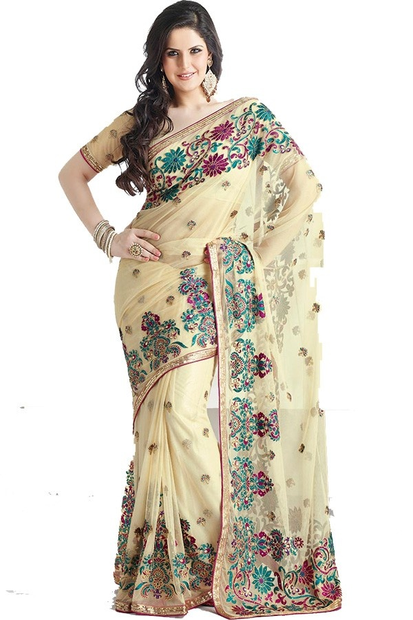 Beige Sequins Embroidered Net Saree  Fabric: NetColor: Beige More details  Reference : VLR5800 http://valehri.com/zarine-khan-sarees/444-beige-sequins-embroidered-net-saree.html
