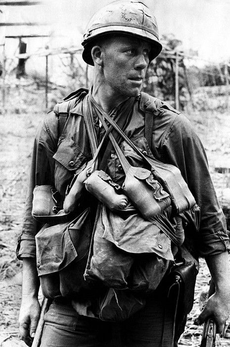 "U.S. Soldier with the 1st Cavalry, Vietnam, March 4, 1966. The 1st Cavalry Division (""First Team"") is one of the most decorated combat divisions of the United States Army. It is based at Fort Hood, Texas."