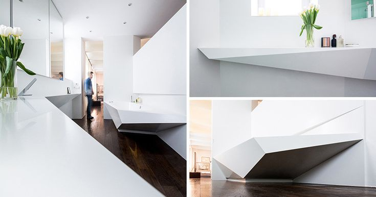 This angular bathroom was inspired by the shape of ice