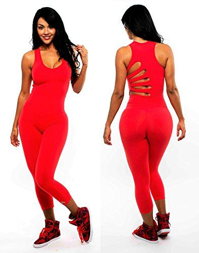 Womens One Piece Fitness Jumpsuit Flower Up Vibe One Size Red * See this great product.
