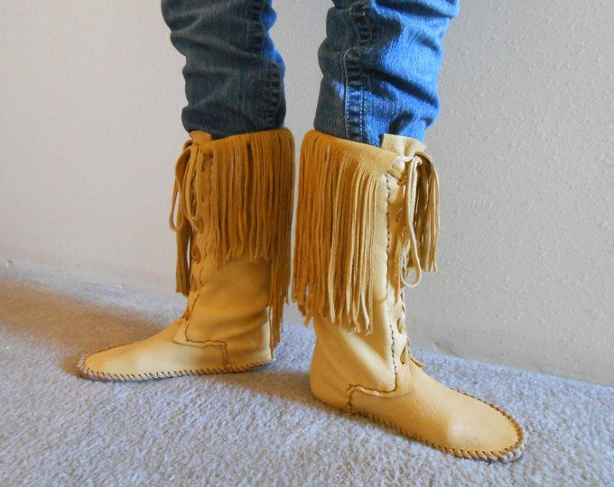 Tall Moccasin Boots, Lace Up Moccasins, Native American Custom Handmade, Hand Sewn Leather Boots, Powwow Regalia, Mountain Man, Rendezvous