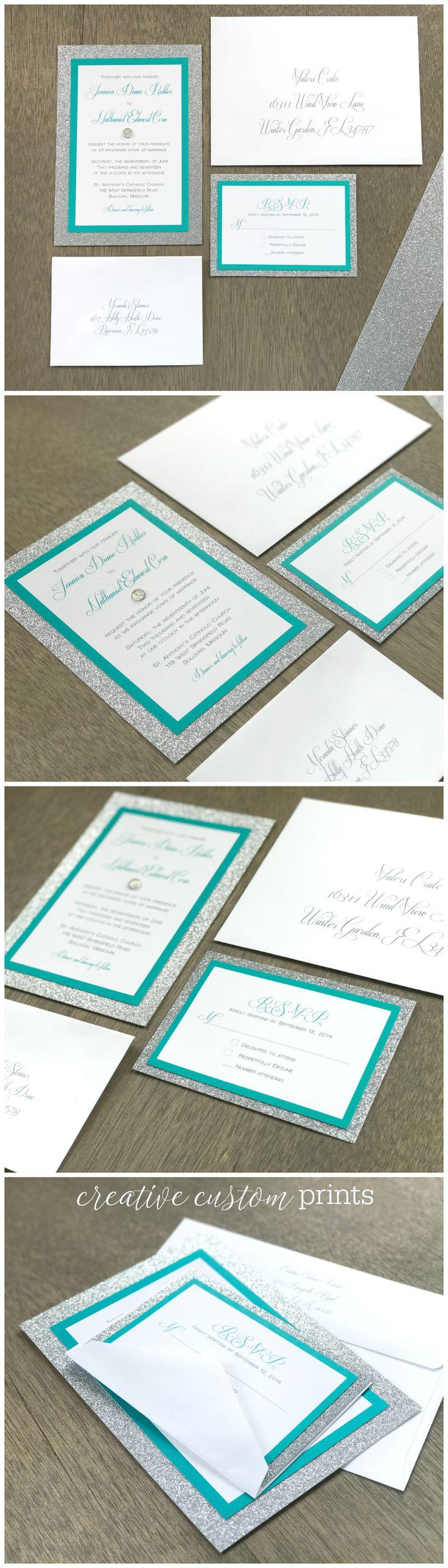 Glitter Wedding Invitation Set, Silver Wedding Invitation, Metallic Wedding Invitation, Elegant Wedding Invitation, Silver Glitter Wedding