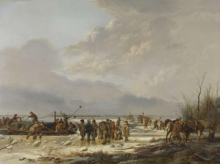 Pieter Gerardus van Os | Breaking the Ice on the Karnemelksloot, Naarden, January 1814, Pieter Gerardus van Os, 1814 - 1815 | Het doorijzen van de Karnemelksloot bij Naarden, januari 1814. Paarden trekken een schuit door de bevroren sloot. Op de schuit en op het ijs staan mannen die met hamers en bijlen het ijs stukslaan. In de verte het profiel van Naarden.