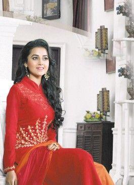 Fantastic Red and Orange Coloured  Georgette Semi-Stitched Designer Salwar Suit